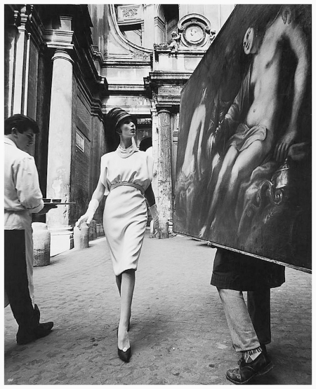 Simone D'Aillencourt in a dress by Fabiani, photo by William Klein, Rome 1962