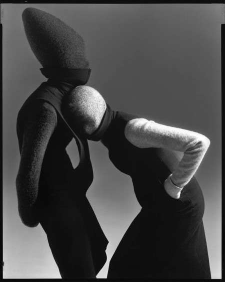 Carmen Kass and Audrey Marnay, dresses by Hussein Chalayan, New York, May 12, 1998