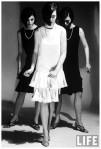Look-alike dresses being modeled by Dees triplets
