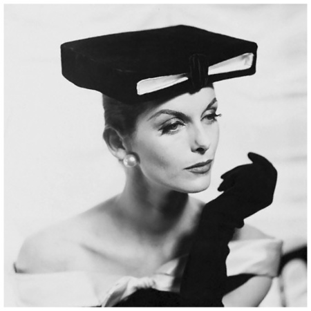 Photo Henry Clarke - Anne St.Marie - 1955 'Model in Box Hat and Long Gloves' Original caption:Model wearing 'academic' box hat, black gloves, and pearl earrings.Condé Nast Archive/Corbis