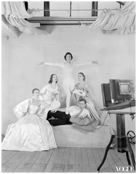 Photographer Henry Clarke (Center) 1953 VOGUE Studio