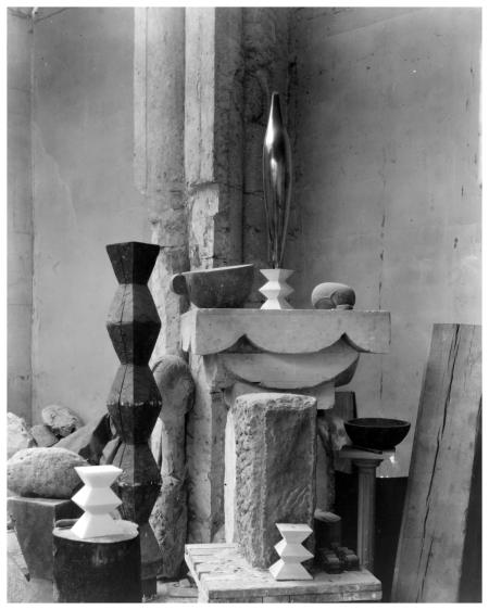 Brancusi's studio in 1920, photographed by Edward Steichen
