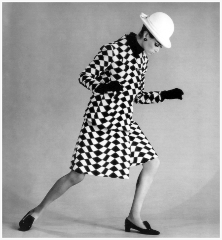 Katherine Pastrie in black and white op-art suit, photo by Norman Parkinson, Vogue, September 1, 1965