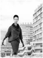 Lissy Schaper is wearing latest German fashion, suit of wool bouclè with swakara collar, photo by F.C. Gundlach, Berlin, 1961