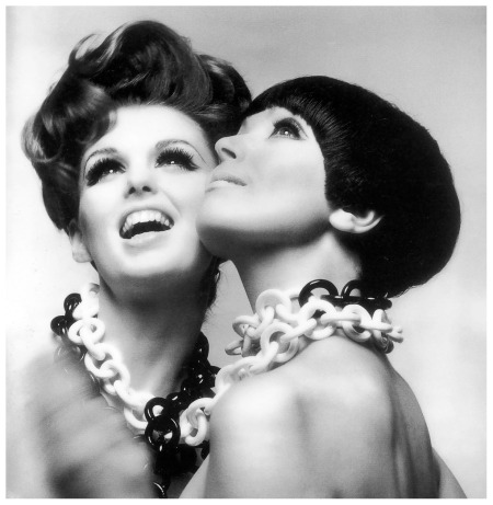 """Look Up"", Dorothea McGowan and Melanie Hampshire, hairstyles on Dorothy by Enny of Italy and Melanie by Vidal Sassoon, necklaces by Arpad, Harper's Bazaar, 1965"