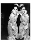 Maggie Eckhardt in a cocktail coat with cloqué relief of Trevira Studio. Before mirror photographed Berlin from 1963 Photo FC Gundlach