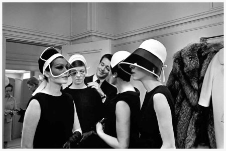 Photo Arthur Brower\New York time 1965 Halston of Bergdorf Goodman - as Times called famous designer and  milliner surrounded by plastic