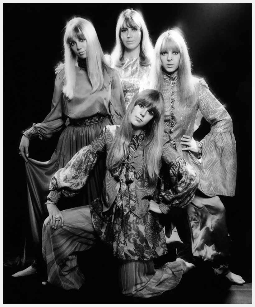 Pattie Boyd, Cynthia Lennon, Maureen Starkey, and Jenny Boyd photographed by Ronald Traeger, 1967