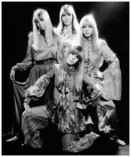 Pattie Boyd, Cynthia Lennon, Maureen Starkey, and Jenny Boyd photographed by Ronald Traeger, 1967