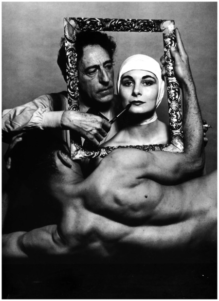 Philippe Halsman - French poet, artist and filmmaker Jean Cocteau with actress Ricki Soma and dancer Leo Coleman. USA, New York City, 1949