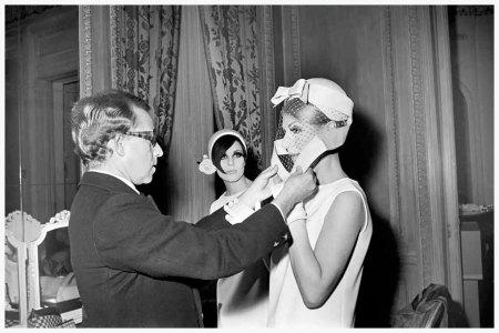 Photo Arthur Brower - 1966 Adolfo adjust the pointed veil