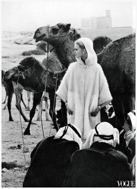 Photo Eugène Vernier - Celia Hammond in Beesheba camel market Vogue, July 1962