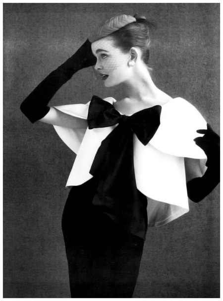 Susan Abraham in evening ensemble by John Cavanagh, photo by John French, 1954