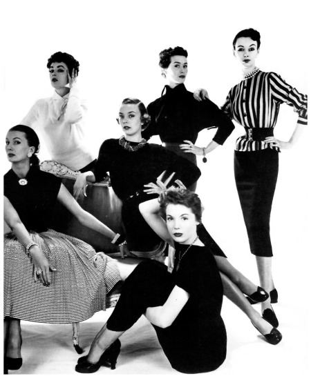 Left to right Barbara Goalen, June Clarke, Shelagh Wilson, Pat Goddard, Susan Hook, and June Duncan, photo by John French for the Daily Express, April 8, 1952