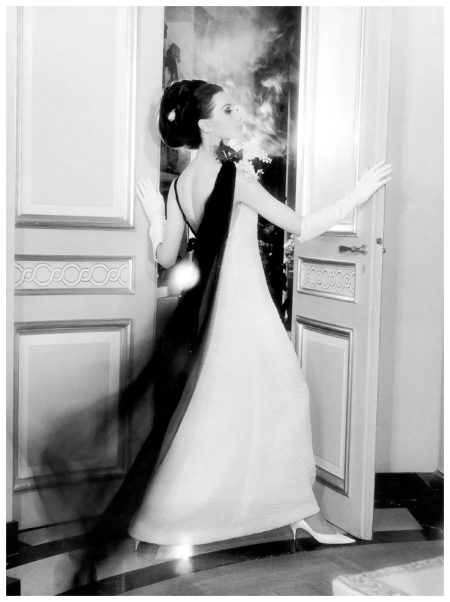 %22Paris Silhouettes%22, Bettina Lauer in evening dress by Yves Saint Laurent, published in Stern, March 3, 1963