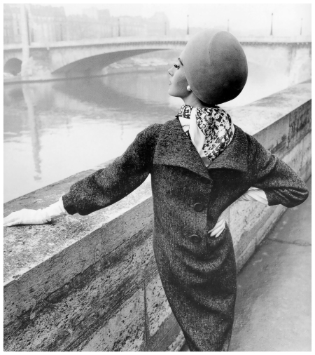 %22Paris Silhouettes%22, Bettina Lauer photographed along the Seine for Stern, March 1963