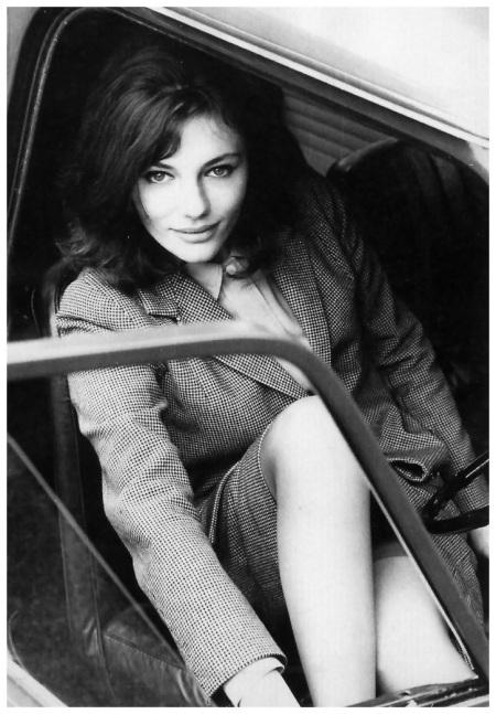 Actress Jacqueline Bissett in her Mini Cooper, photo by John Cowan, London, June 1964