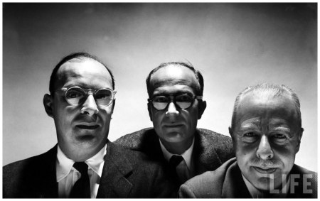 Bell Labs scientists who discovered the transistor (L-R) John Bardeen, William Shockley & Walter Brattain. (transistors spread out before them are cropped from electronic image) Murray Hill, NJ, US 1954 Yale Joel