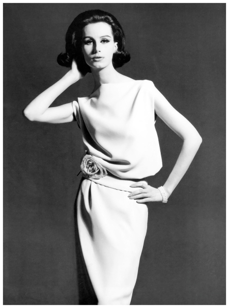 Bettina Lauer in dress by Lauer-Boehlendorff, photo by Rico Puhlmann for Constanze Mode, Berlin, Spring:Summer 1963