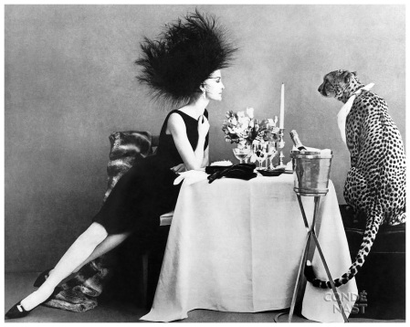 Dining with a Cheetah, Leombruno-Bodi's elaborately staged photograph appeared in the November 1, 1960, Vogue