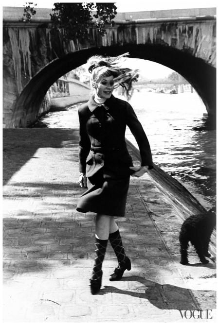 Francoise Dorleac, actress, on the bank of the Seine, with poodle.Photographed by Karen Radkai, Vogue, October 1, 1964
