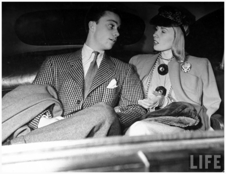 Halldis Prince (R) sitting in a car with actor Freddy Bradley 1940 NYC John Phillips