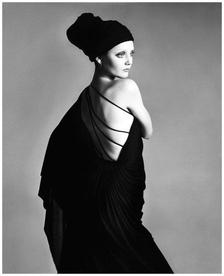 Ingrid Boulting, evening dress by Grès, Paris, January 1970