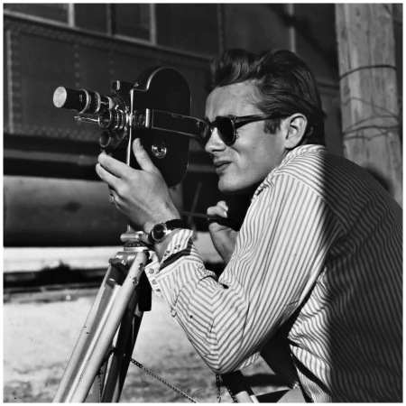 James Dean on the set of Giant, 1955