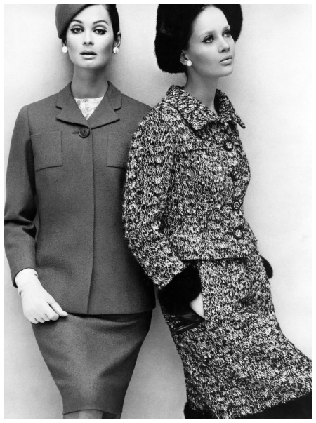 Marie Lise Gres (l) in herringbone suit by Michael of Carlos Place and Celia Hammond (r) in suit by John Cavanagh, photo by John French, July 1964