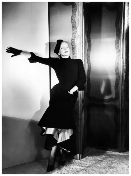 "Marlene Dietrich wearing Dior's ""Chandernagor"" ensemble, photo by Horst, American Vogue, December, 1947"