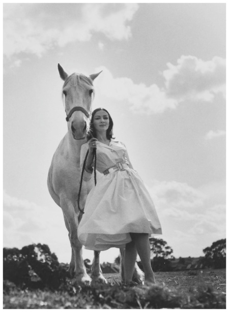 model Helen Homewood, client Potter and Moore, location Studley Park, Kew, photograph by Bruno Benini, Melbourne, Victoria, Australia, 1957