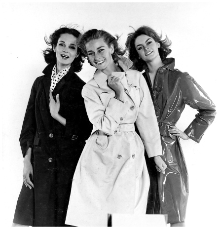 Models in raincoats, Marie Lise Gres (l) Tania Mallet (c) and Jean Shrimpton (r), photo by David Bailey, Daily Express, 1961