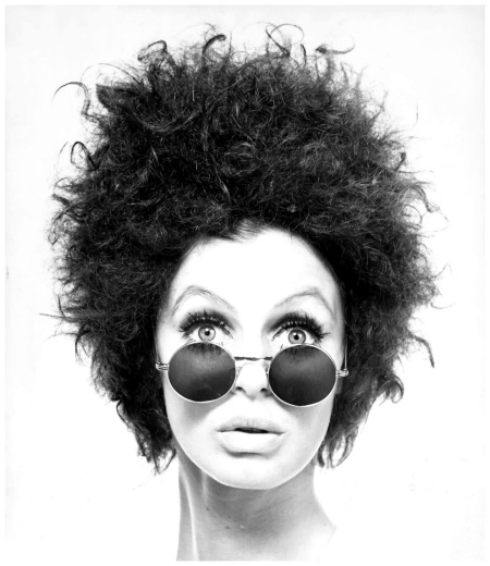 mounted on card, portrait of Jacky Holme with metal framed sunglasses and 'Jimmy Hendrix' wig, photograph by Bruno Benini, Melbourne, Victoria, Australia, 1968