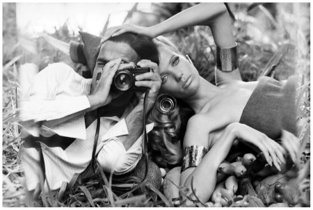 Photographer Franco Rubartelli shoots a self-portrait with Veruschka. ca January 1968
