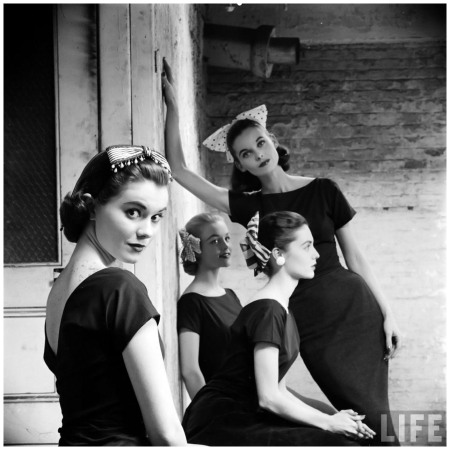 Models wearing ribboned hair ornaments, photo by Yale Joel, 1950's Left to right Patsy Shally, blonde (unknown), Anne St. Marie (leaning) and Nan Rees