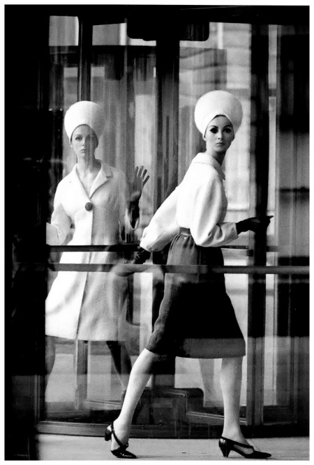 Tilly in wool dress by Adele Simpson and Wilhelmina in Maurice Rentner, photo by William Klein, New York City, 1963