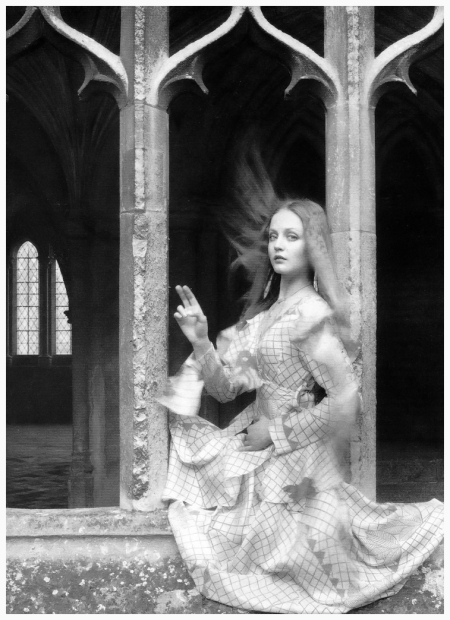 'Tribute to William Henry Fox Talbot', Ingrid Boulting at Lacock Abbey, photo by Norman Parkinson, 1970