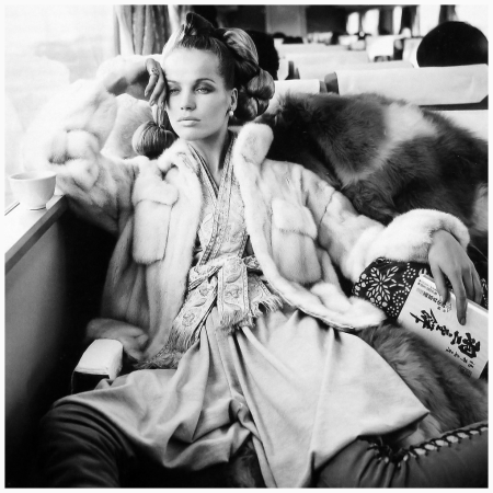 Veruschka in mink jacket by Emeric Partos, photo by Richard Avedon on the fastest train in Japan, seen in Vogue, Oct. 1966