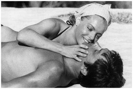 Alain Delon and Romy Schneider on the set of %22La Piscine%22 1968 Sunset Boulevard:Corbis