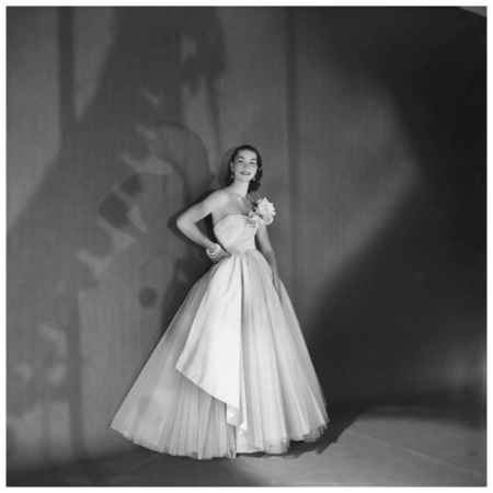 Bettina Balding wearing tulle and taffeta dancing dress. Circa November 1953 photo Clifford Coffin