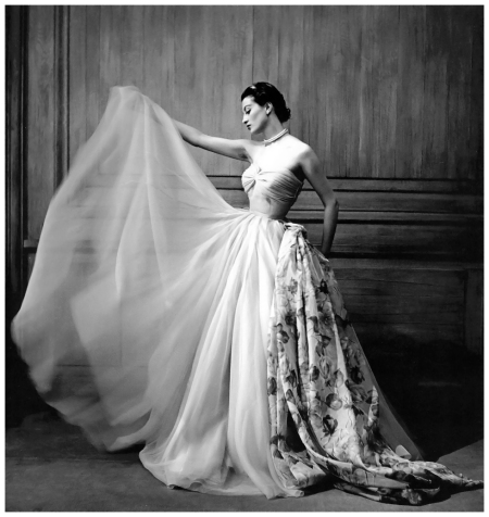 Capucine in beautiful chiffon evening gown by Pierre Clarence photographed at La Tour d'Argent by Georges Dambier