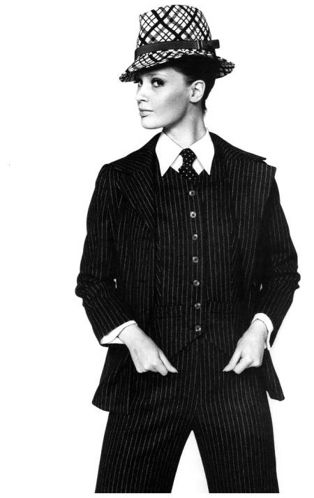 Celia Hammond in pinstriped %22Gangster%22 suit inspired by Yves Saint Laurent from Wallis Shops, photo by John Carter, March 1967