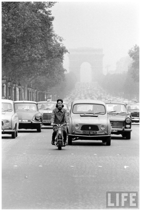Champs Elysees Traffic Led by Actress Elsa Martinelli on Motorbike