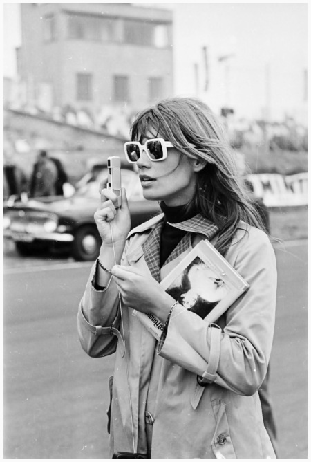 Francoise Hardy - at Brands Hatch to film John Frankenheimer's racing drama 'Grand Prix'. Photo Victor Blackman 1966