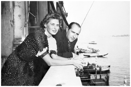 From a balcony of the Grand Hotel, Ingrid Bergman, movie star, and Roberto Rossellini, Italian director who she wed after divorcing Dr. Peter Lindstrom Venice 1950