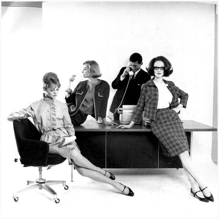 Left to right Jean Shrimpton, Tania Mallet, unidentified male, Grace Coddington, photo by David Bailey, Daily Express, 1962