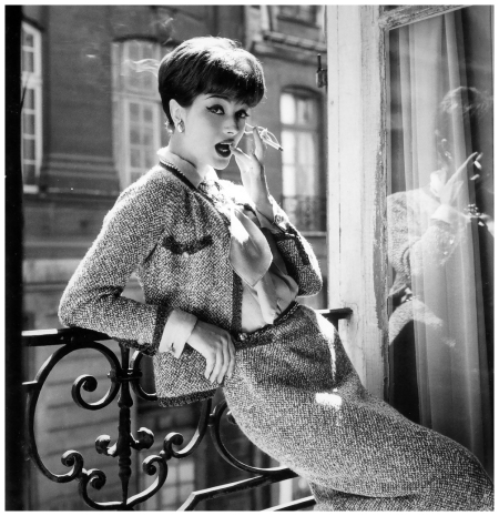 Marie-Hélène Arnaud in Chanel's Chiné tweed suit in beige and brown. Long-sleeved shantung blouse with removable cuffs. Mademoiselle loved this outfit and wore it herself. Photo by Sante Forlano, Vogue 1958