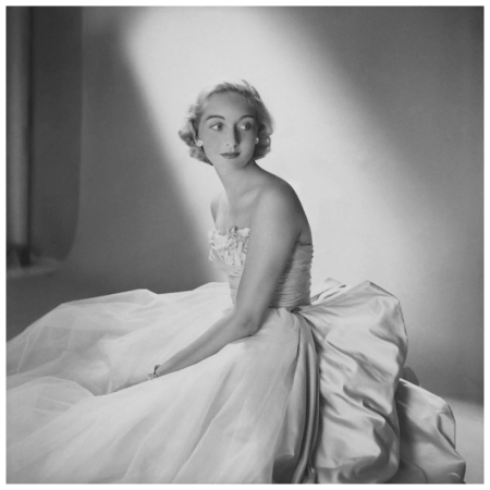 Mary Sargent Ladd, debutante, wearing tulle and satin strapless gown. Circa November 1953 photo Clifford Coffin