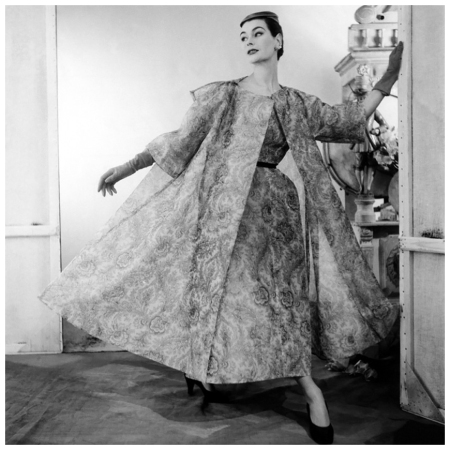 Model wearing paisley silk organdy dress and coat, both by Balenciaga 1954 Photo Henry Clarke