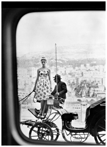 Tania Mallet (Vernier's favorite model) in lime green print sundress of heavy cotton by Fredrica, white kid shoes from Charles Jourdan, photo by Vernier in Monte Carlo, Vogue UK, July 1960